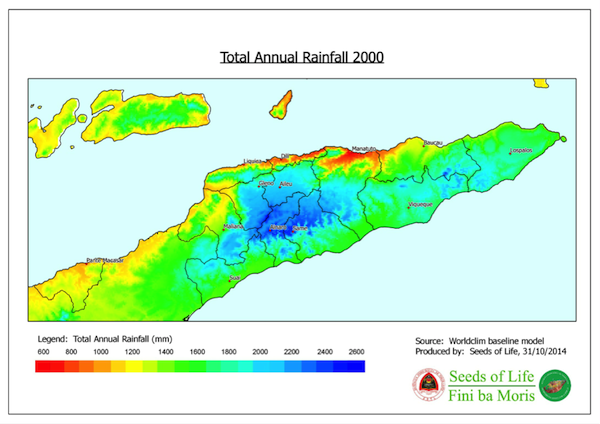 Total annual rainfall 2000