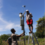 SoL and ALGIS staff work together installing the weather station at the Pante Macasar airport in Oecusse.