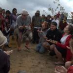 Farmers enjoying the theatre performance in Lequidoe, Aileu
