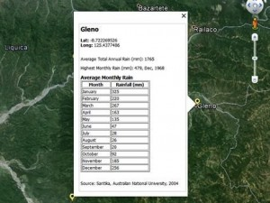 This screenshot shows the data available in the Google Earth layer